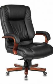 Кресло руководителя Бюрократ T-9925WALNUT черный кожа крестовина дерево
