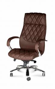 Кресло офисное Norden / Бонд / (brown) сталь + хром / темно- коричневая экокожа