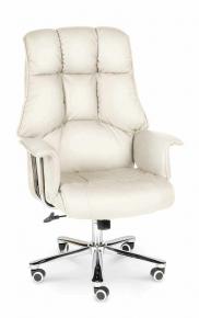 Кресло офисное Norden / Президент / сталь + хром / слоновая кость кожа