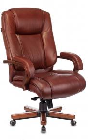 Кресло руководителя Бюрократ T-9925WALNUT светло-коричневый кожа Leather Eichel крестовина металл-дерево