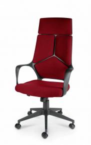 Кресло Norden IQ черный пластик, темно-красная ткань