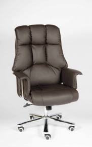 Кресло Norden Президент сталь + хром темно-коричневая экокожа