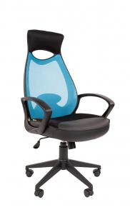 Кресло Chairman 840 черный пластик TW-34 голубой