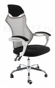 Кресло Woodville Armor бело-черно-серое
