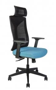 Кресло офисное Norden / Бостон / черная сетка / синяя ткань / черный пластик