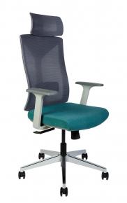 Кресло офисное Norden / Бостон / серая сетка / морская волна ткань / серый пластик / хром крестовина