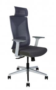 Кресло офисное Norden / Бостон / серая сетка / серая ткань / серый пластик / хром крестовина