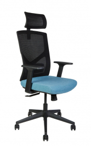 Кресло офисное Norden / Денвер / черная сетка / синяя ткань / черный пластик