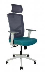 Кресло офисное Norden / Денвер / серая сетка / морская волна ткань / серый пластик