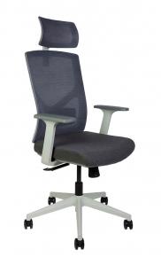 Кресло офисное Norden / Денвер / серая сетка / серая ткань / белый пластик