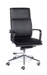 Кресло офисное Norden / Харман / (black) хром / черная экокожа