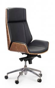 Кресло офисное Norden / Патио / черная кожа / алюминиевая крестовина
