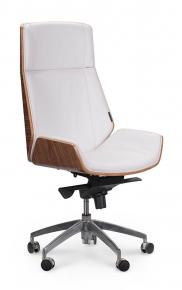 Кресло офисное Norden / Патио / белая кожа / алюминиевая крестовина