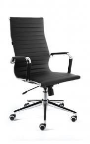 Кресло офисное Norden / Техно / хром / черная экокожа