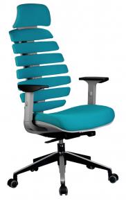 Кресло Riva Chair Shark серый пластик / лазурная ткань