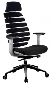 Кресло Riva Chair Shark серый пластик / черная ткань