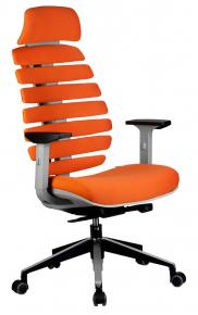 Кресло Riva Chair Shark серый пластик / оранжевая ткань