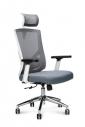Кресло офисное Norden / Гарда / белый пластик / серая сетка / серая сидушка